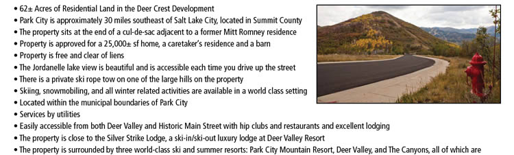 62+/- Acre Land Auction in Park City, UT