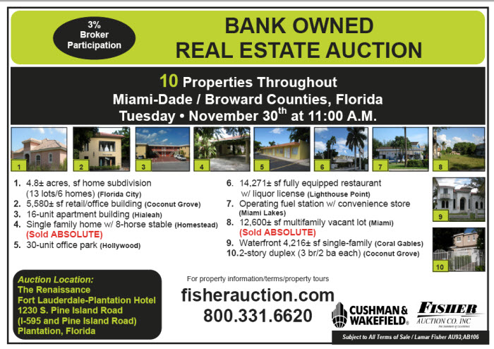 Bank Owned Auction-10 Properties in Broward-Miami FL
