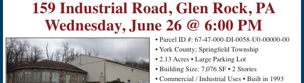COMMERCIAL REAL ESTATE AUCTION: Glen Rock, PA