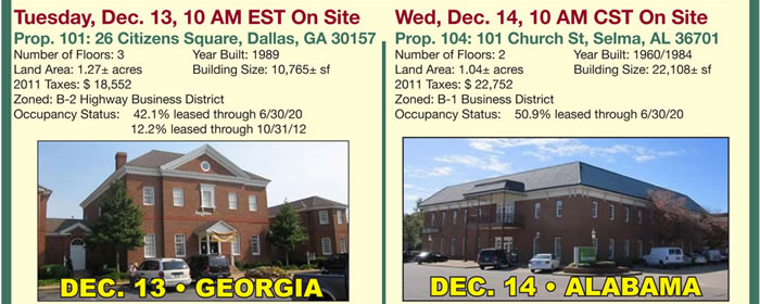 3 Day Auction: 7 Bank Branches in AL, GA, IL, MS, TN & TX