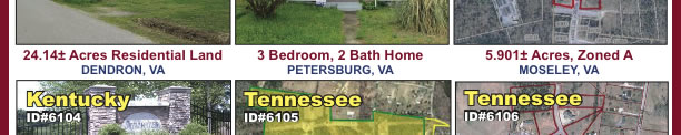 Absolute: 15+/- Property Offerings in FL, KY, MD, TN, VA & W. VA