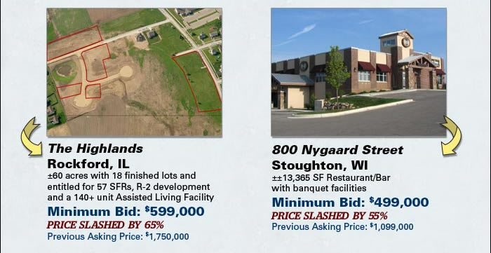 Lender-ordered auction of Retail, Land, Restaurant/Bar and more