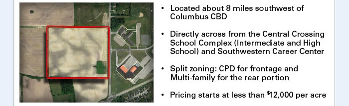 Over 43 acres of development land in Columbus, Ohio