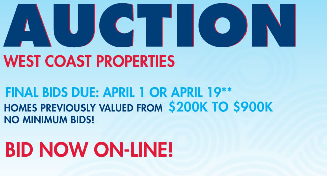 Foreclosed home auction - west coast properties